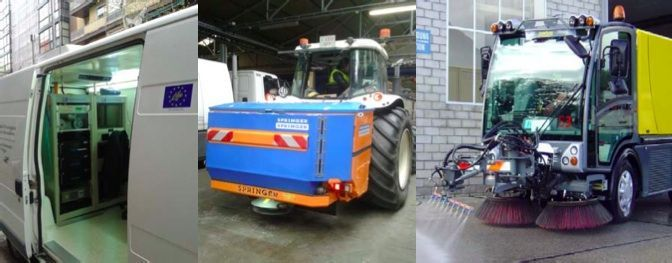 Figure 1. Left: Air pollution mobile unit. Centre: Spreader vehicle. Right: Cleaning vehicle