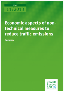 Cover_Economics of mesures to reduce traffic emissions_UBA